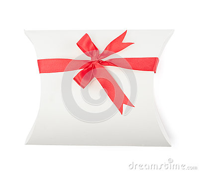 White present box with scarlet ribbon
