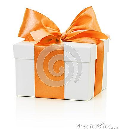 Free White Gift Box With Orange Bow Isolated On The White Background Royalty Free Stock Image - 47825036