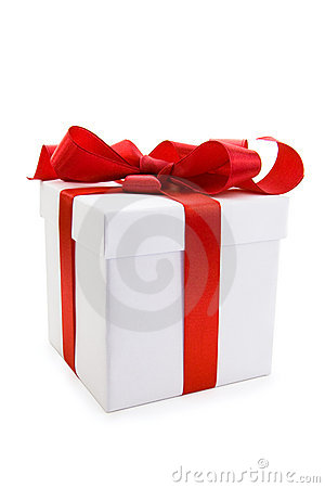 Free White Gift Box With Red Satin Ribbon Bow Royalty Free Stock Photo - 16424285