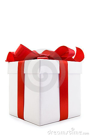 Free White Gift Box With Red Satin Ribbon Bow Royalty Free Stock Photography - 16424287