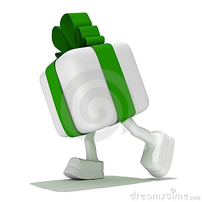 White gift with a green tape