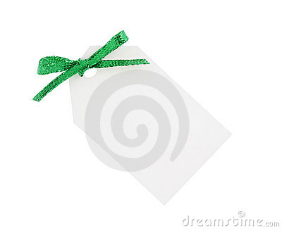 White gift tag with green bow