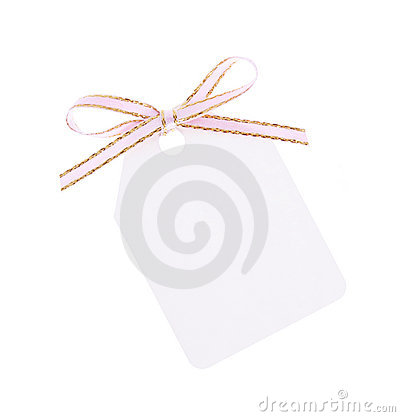 White gift tag with ribbon bow