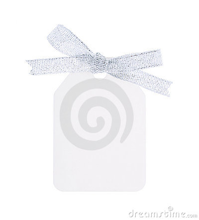 White gift tag with silver bow