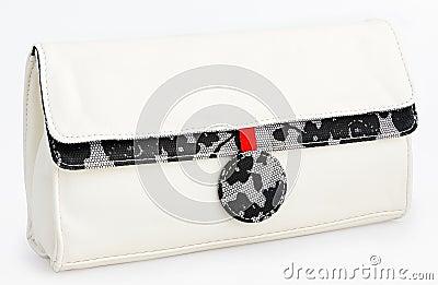White glamorous hand bag