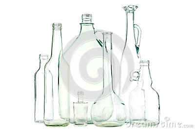 White glass bottles
