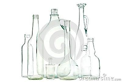 White glass bottles