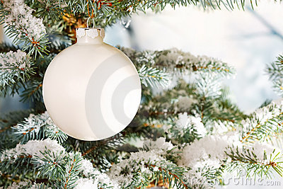 White glass Christmas bauble