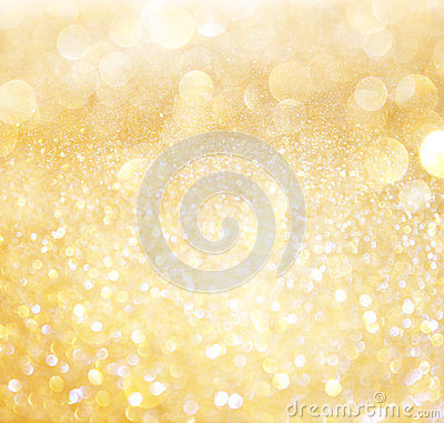 White and gold abstract bokeh lights