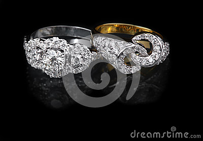 White gold and Golden diamond rings