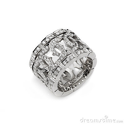 White gold pattern ring with white diamonds for gi