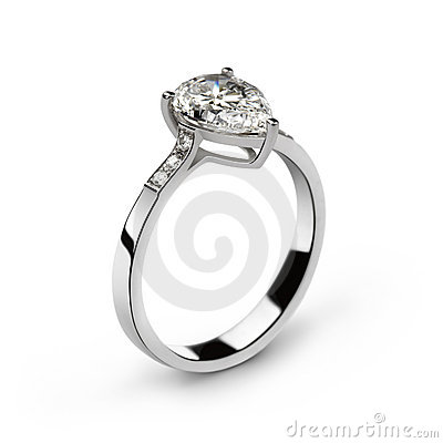 White gold ring with white diamonds and one big pe