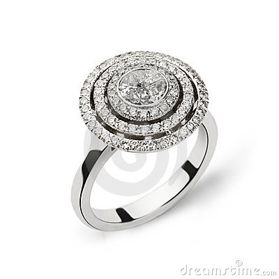 Free White Gold Ring With White Diamonds For Gift Or Ma Royalty Free Stock Photo - 10780125