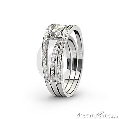 Free White Gold Ring With White Diamonds_2 Stock Image - 10780171