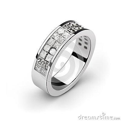 Free White Gold Wedding Ring With White Diamonds, Cut P Royalty Free Stock Photos - 10780188