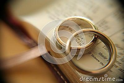White gold wedding rings on bible