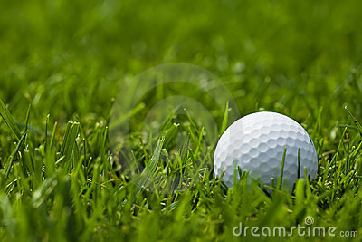 White golf ball on fairway close up
