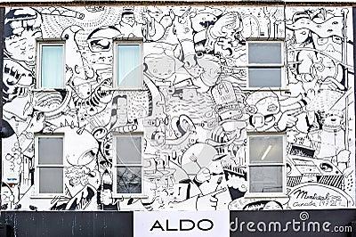 White graffitti building ALDO in Camden Editorial Photography