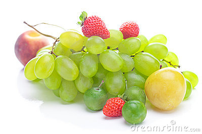 White grapes, peach and yellow plum
