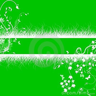 White grass floral  patterns on green background