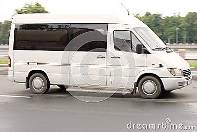 White gray blank Shuttle Bus