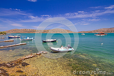 Boats at the coast of Crete