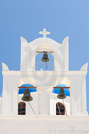 White Greek church bell tower