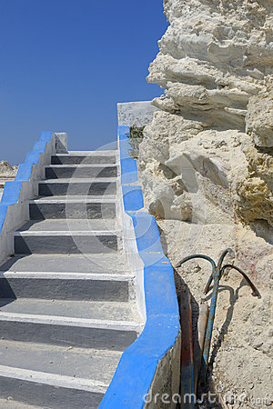 White Greek stone steps