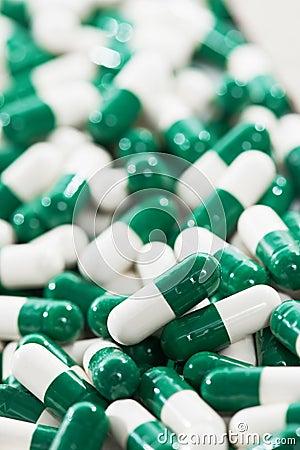 White green capsule pills with medicine antibiotic