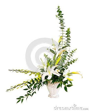 White and green flower bouquet arrangement in vase