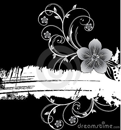 White grunge banner with flowers