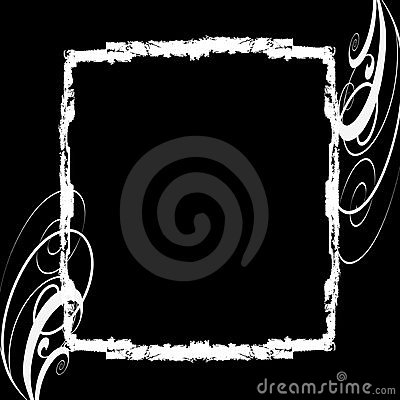 White grunge frame black background