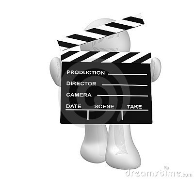 White guy icon holding a film scene clap board