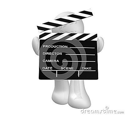 White guy icon holding a film scene clap board