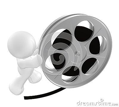 White guy icon rolling film reel