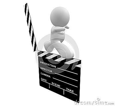 White guy icon walking on a film scene clap board