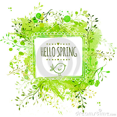 White hand drawn square frame with doodle bird and text hello spring. Green watercolor splash background with leaves. Artistic vec Vector Illustration