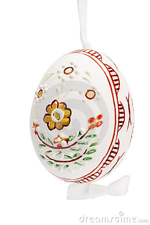 White hanging hand painted easter egg