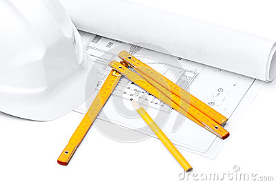 White hard hat, foot ruler, isolated on white