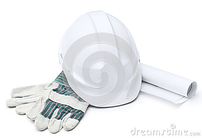 White hard hat, gloves, druft