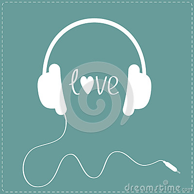 White headphones with cord. Dash line. Love card. Vector Illustration