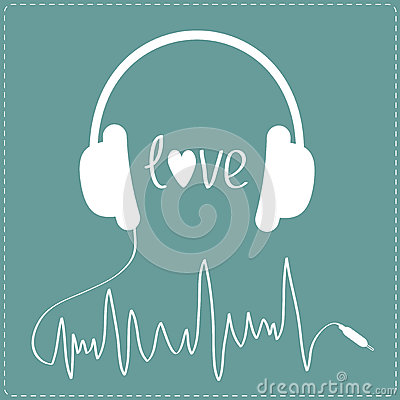 White headphones with cord in shape of cardiogram. Dash line. L Cartoon Illustration
