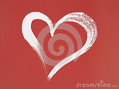 White heart painted on red background