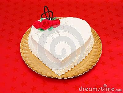 White heart shape cake