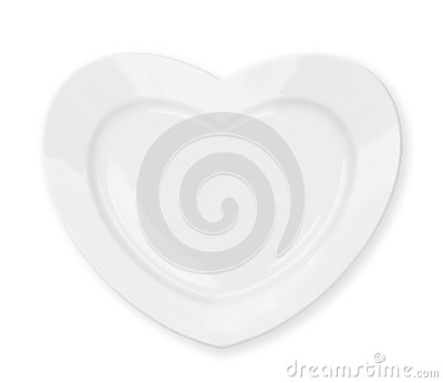 White heart shape plate isolated with clipping path