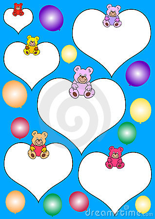 White hearts with teddies and balloons