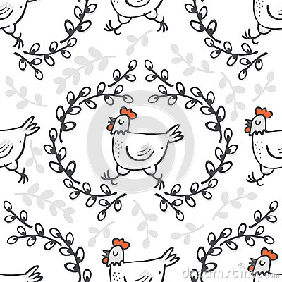 White hen in willow wreath spring Easter seamless pattern Vector Illustration