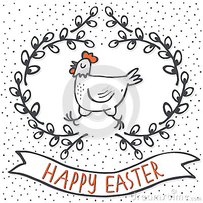 White hen in willow wreath spring holiday Easter card with wishes Vector Illustration