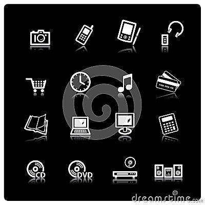 White home electronics icons