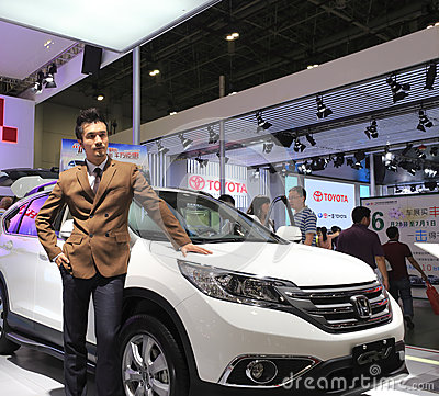 White honda cr-v car Editorial Image